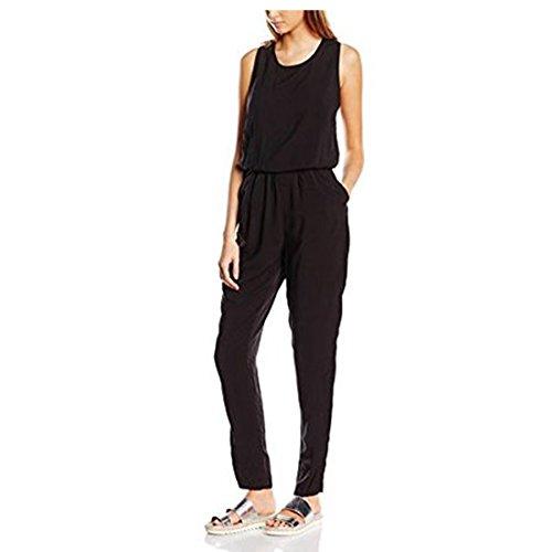 ONLY Damen Onlnova S/L Jumpsuit Solid Vis Wvn, Schwarz (Black Black), 38