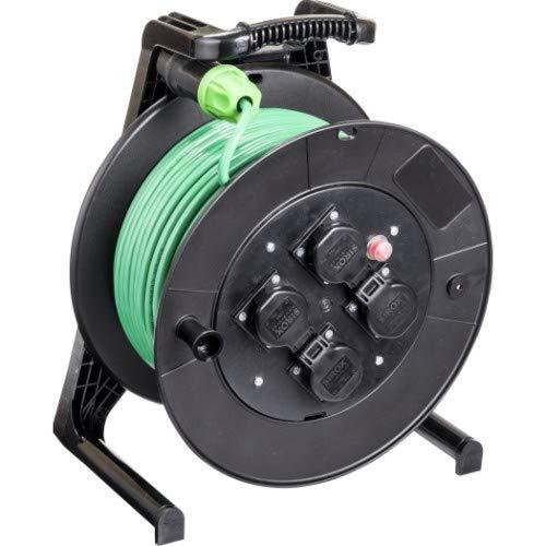 JUMBO® L Kabeltrommel mit 4 Steckdosen H07BQ-F Leitungsfarbe grün, Querschnitt 3 x 1,5 mm², Länge 40 m
