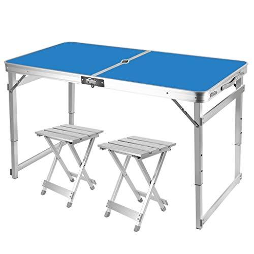Outdoor opvouwbare picknick tafel, draagbare lichtgewicht aluminium legering, in hoogte verstelbaar, met 2 krukken, tuintafel camping werkbank