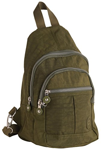 Unisex Lightweight Multi Zip Backpack Sling Bag in Green