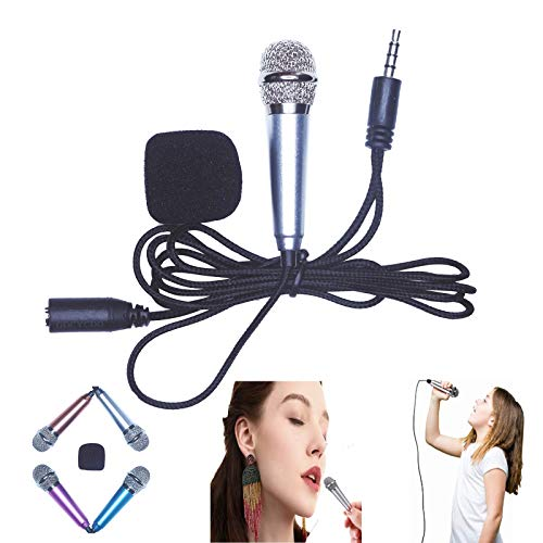 Mini Recording Microphone Portable Karaoke Mini Microphone for Singing, Recording, Home Entertainment, Vocal Teaching (Silver)