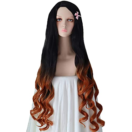 Cosplay Wigs Anime Nezuko Wig Long Curly Hair Wigs Women/Girls for Theme Parties/Halloween Character Wigs 39 Inch