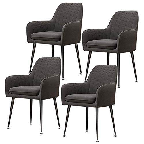 N&O Set of 4 Retro Dining Chairs Velvet Seat Metal Legs Armchair with Backrest and Padded Seat Kitchen Chairs for Living Room Reception Chairs (Color Blue Size Black Legs)