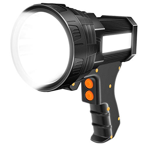 Brightest Spotlight Hand-held Portable LED Flashlight 6000 lumens 9600mAh Rechargeable Long Lasting LED Searchlight Super Bright Torchlight with USB Output Function IPX4 Waterproof (Black)