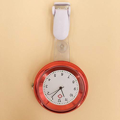 flqwe Medizinische Taschenuhren mit Clip,Quarz-Krankenschwesteruhr, medizinische Multi-Color-Zeiger Brustuhr-rot,Krankenschwesteruhren für Frauen