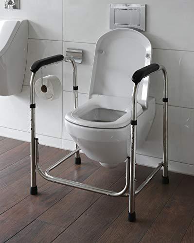 WC Aufstehhilfe höhenverstellbar aus Edelstahl Toiletten Stützgestell Model 2020