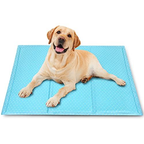 Kühlmatte für Hunde,90cm × 50cm Kühlmatte für Haustiere langlebige , Wasserdicht und Kratzfest, Selbstkühlendes Gel, Bequemes Gewebe,Ideal für Hunde und Katzen im Heißen Sommer
