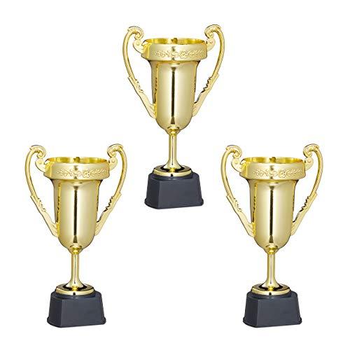 Relaxdays Coppe, Set 3 Trofei, Sport & Feste, Senza Scritta, Plastica, Premiazioni Bambini, 22,5x13,5x8,5 cm, Dorati Gioventù Unisex, Oro, Delete
