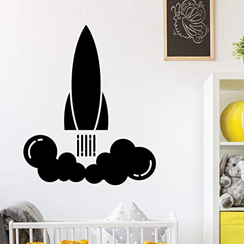 Zaosan Pegatinas de Pared con patrón de Cohete calcomanías de Pared para jardín de Infantes para niños Lanzamiento de Cohete Interior Mural de Arte de Moda Dormitorio para niños Negro 57x69 cm