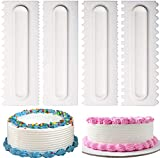 4 Pack Decorating Combs Cake Scraper Set Icing Smoother Fondant Spatulas Cake Edge Smoother Cream Scraper Cake Smoothing Tools Pastry Cutter with 8 Design Textures for Kitchen Baking Mold DIY