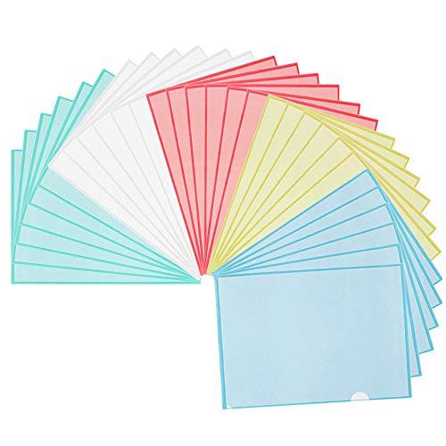NACTECH 30ST Dokumententasche A4 Dokumentenmappe Sichttasche mit Druckknopf Wasserdichte Sammelmappe Transparent Aktenhülle für Dokument Speicherung 5 Farbe