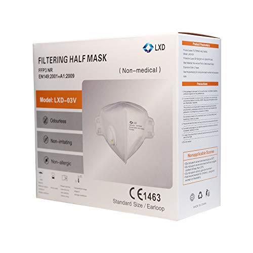 6 Stück FFP3 Maske Atemschutzmaske Halbmaske Staubmaske Atemmaske Schutzmaske FFP3 LXD-03V NR mit Ventil CE Zertifiziert