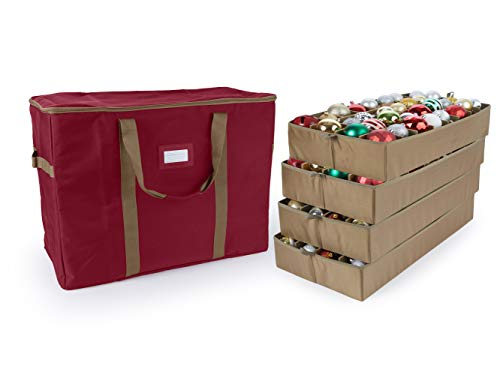 Covermates Keepsakes - 96PC Adjustable Ornament Storage Bag - Holds 4 Inch Ornaments - Heavy Duty Material - FlexGrid Adjustable Compartments - ID Window - 19 Inch Holiday Storage Bag - Red