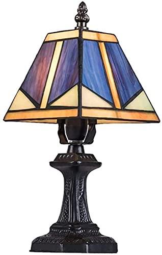 Lámpara de mesa Tiffany Lámpara de mesa de cristal de color Leah de estilo Tiffany vintage que se utiliza en el dormitorio Sala de estar Mesa de centro Estantería