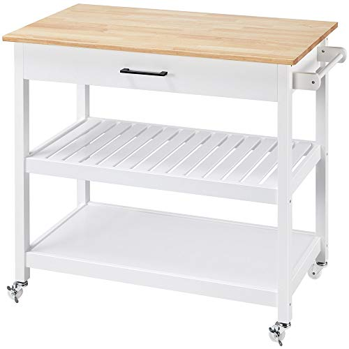 Topeakmart Kitchen Trolley Cart on Wheels, Rolling Kitchen Island with Storage Drawer Towel Rack Lower Shelf Natural Wood Countertop White Stand