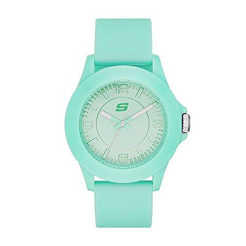Skechers Women s Rosencrans Mid Three-Hand Silicone Quartz Watch, Color: Mint Green (Model: SR6027)