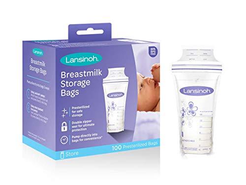 Lansinoh Breastmilk Storage Bags With Convenient Pour Spout Double Zipper Seal