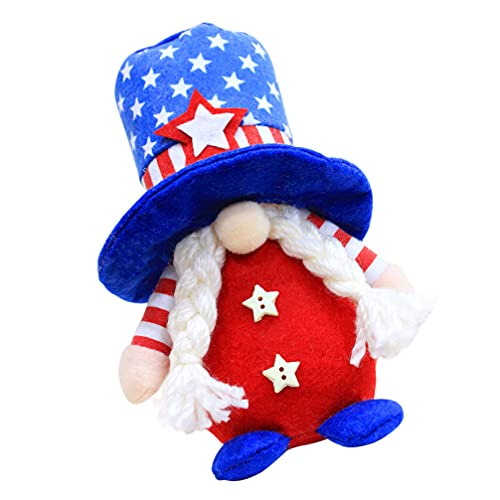 SOIMISS American Gnome Doll Veterans Day Independence Day Decoration Red White Blue Scandinavian Tomte Memorial Day Decor Tiered Tray Decor Girl