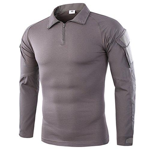 Taktisches Hemd Militärhemd Airsoft Männer Langarm BDU Combat Camouflage Camo Kampf T-Shirt für Tactical Paintball Uniform Armee grau Medium