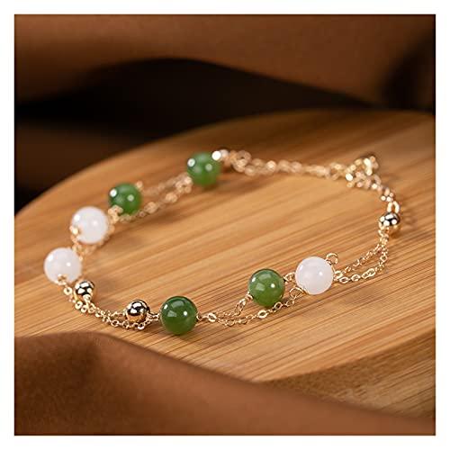 COKILU Natural Hetian White Jade Bracelet Handmade With 14k Gold Bracelets For Women Bangles 925 Bracelets For Women Ward Off Evil Spirits Money Drawing Wealth Fortune