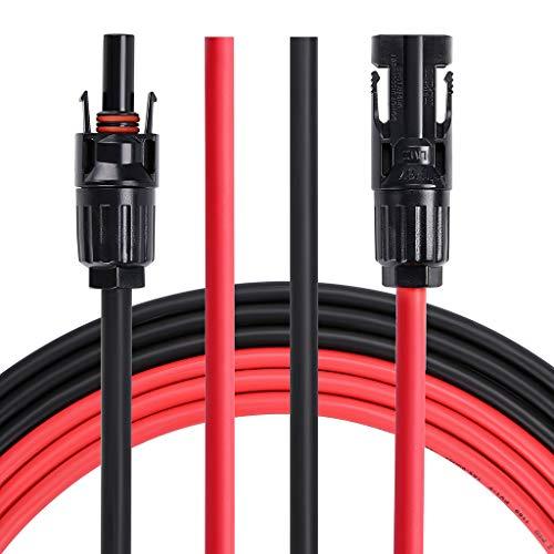 Sumnacon 6M(20ft) Câble d'Extension photovoltaïques, PV1-F 6,0mm² MC4 Connecteurs IP67,10AWG pour Photovoltaïque Panneau Solaire etc.
