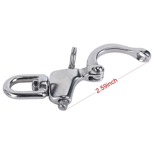 Amarine-made Pair of Swivel Eye Snap Shackle Quick Release Bail Rigging Sailing Boat Marine Stainless Steel for Sailboat Spinnaker Halyard