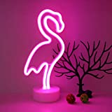 GUOCHENG Flamingos LED Neon Night Lights Neon Light Sign Table Decor Battery&USB Powered Creative Lighting Lamps Home Wedding Party Decoration Gift for Kids (Flamingos)