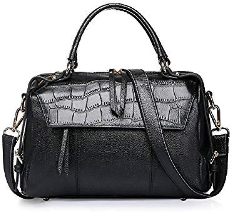 Bloomerang SUDS Brand Women Bag Genuine Leather Alligator Handbag High Quality Female Big Capacity Crossbody Bag Lady Cow Leather Tote Bags color Black