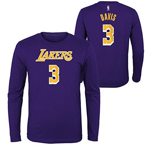 Outerstuff Anthony Davis Los Angeles Lakers #3 Youth Player Name & Number Long Sleeve T-Shirt Purple (Medium)