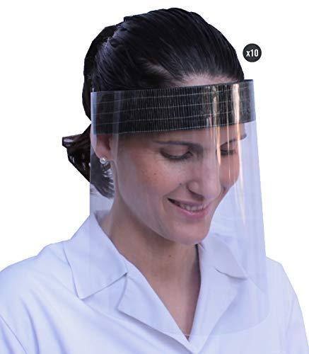KMINA - Pantallas Protectoras Faciales (Pack x10 uds.), Pantalla Protección Facial, Visera Protección Facial, Protectores Faciales, Viseras Protectoras con Agarre de Velcro, Fabricadas en España