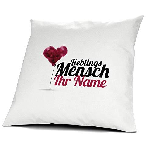 printplanet® Kissen mit Namen personalisiert - 100% Baumwoll Kopfkissen - Motiv Lieblingsmensch individuell gestalten - Kissenbezug inkl. Füllung - 40 x 40 cm