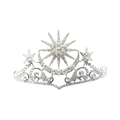 Frcolor Tiara Crowns Star Moon - Diadema de cristal para novia, con diamantes de imitación, para mujer