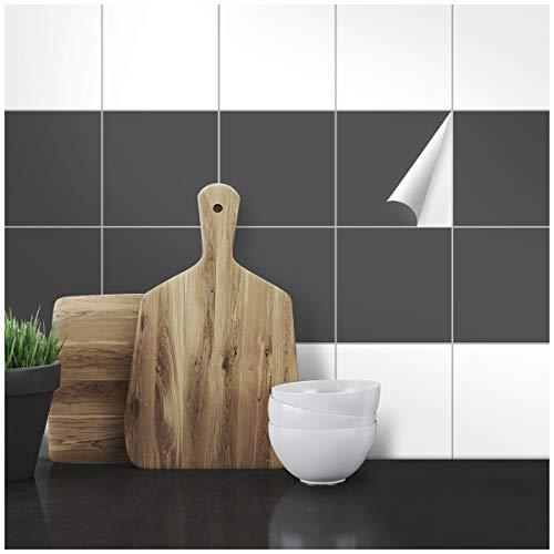 Wandkings Fliesenaufkleber - Wähle eine Farbe & Größe - Dunkelgrau Seidenmatt - 15 x 15 cm - 20 Stück für Fliesen in Küche, Bad & mehr
