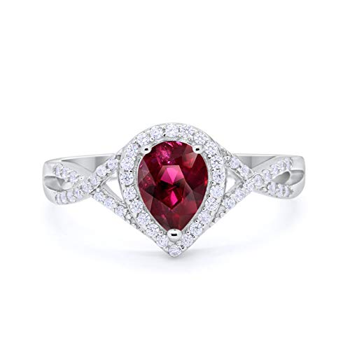 Blue Apple Co. Halo Teardrop Wedding Promise Ring Infinity Accent Simulated Ruby Round CZ 925 Sterling Silver, Size-9