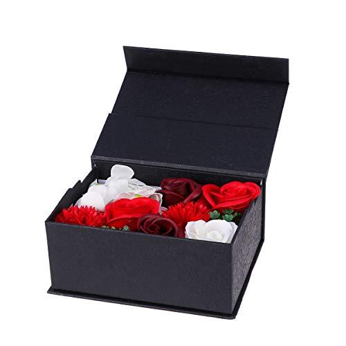 Caja de regalo de la flor del jabón de Amosfun. Ramillete de jabón con marco de fotos. Regalos de San Valentín para aniversario de cumpleaños.