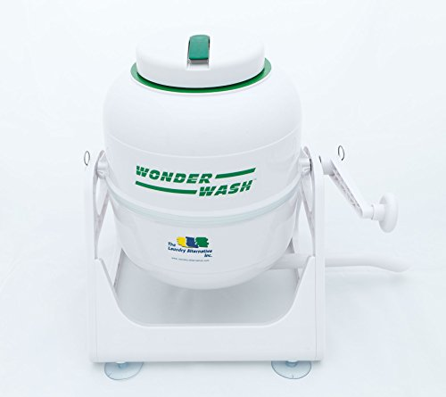 The Laundry Alternative - The Wonder Wash Compact Washing Machine - Non-Electric, Hand-Cranked Small Portable Washer - Perfect for Cleaning Woolens, Silks, Knits and Cashmere - 5-Pound Capacity