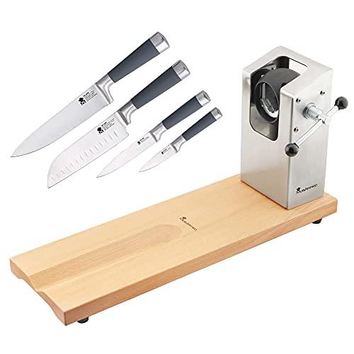 Jamonero BERGNER Masterpro 62 x 19,5 x 3,3 cm con set de 4 cuchillos de cocina San Ignacio Masterpro