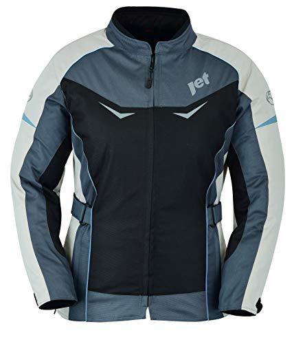 Jet Motorradjacke Damen Mit Protektoren Textil Winddicht Sommer Winter ROCHELLE (S (EU 36), Blau)