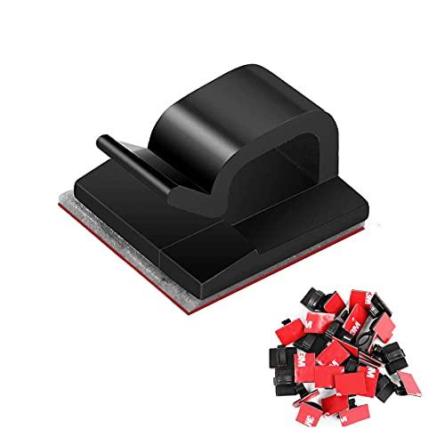 JeoPoom 50 Piezas Sujeta Cables, Clips de Cable Autoadhesivos, Cable Abrazadera de Alambre Organizador, Organizadores de Cables de Gestión para Home Office