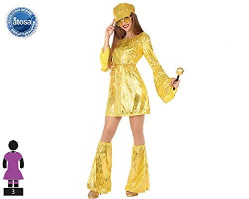 Atosa-55917 Disfraz Disco, Color Dorado, XS-S (55917)