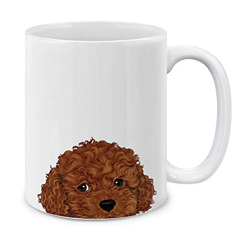 MUGBREW Brown Toy Poodle White Ceramic Coffee Mug Tea Cup, 11 OZ