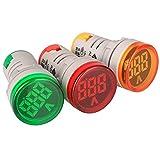 Gebildet 22 mm Pantalla de Voltaje CA Pantalla LED Digital Voltímetro CA 50-500V Monitor de Medidor de Voltaje 110v 220v 380V Detector de Voltaje Verde Rojo Amarillo Panel de Luz Indicadora de Señal