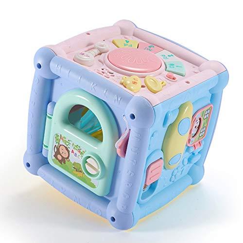Scucs 10 en 1 Clasificador de Actividad Caja de Juguetes de Bebé Recargable 15,5 cm Juguete Educativo con Baterías de Instrumento de Música Luces