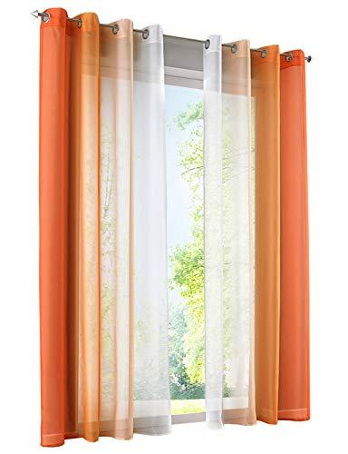 BAILEY JO 2er-Pack Gardinen mit Verlauf-Farben Muster Vorhang Transparent Voile Vorhänge (BxH 140x145cm, Orange mit Ösen)