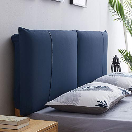 Home Pillow Double Bed Backrest Cushion Sofa Gepolstert Abdeckung Kissen Lendenwirbelsäule Pad Leder Abnehmbar Without Headboard (Color : A-Dark blue, Size : 120x8x55CM)