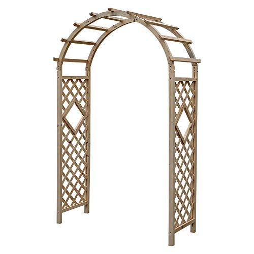YIERMA Arco de jardín de madera con puerta de valla, parte superior curvada, arco de madera natural, decoración de jardín al aire libre, color de madera (arco de 120 x 215 cm)