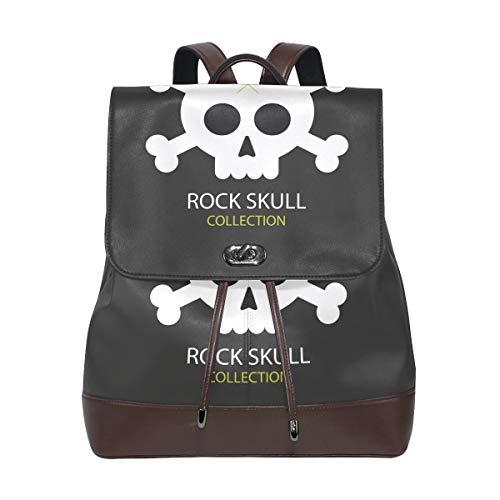 DEZIRO Cuir Rock Tête de Mort d'école Lot Sacs à Dos Sac de Voyage