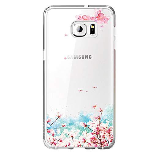 Cover Galaxy S6 Edge Trasparente Galaxy S6 Edge Custodia Silicone Simpatico Panda Disegno Animale Ultra Slim Custodia Antiurto No-Slip Anti-Graffio Morbido per Samsung Galaxy S6 Edge (Fiore)