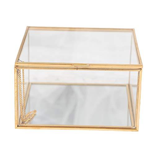 CUTICATE Joyero Caja de Cristal Transparente para Habitación Caja de Cristal para Boda con Tapa