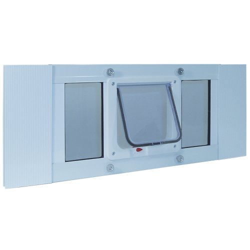 Ideal Pet Products Aluminum Sash Window Pet Door, Adjustable...